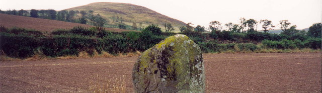 Bendor Stone at the site of the Battle of Homildon Hill. Many Scots were killed around this stone.